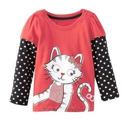 SFK150804 2015 New Design Baby Girls Kids Clothing Long Sleeve T Shirt Children Cloth Cat Dot Cartoon Characters Wholesale