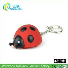 led de sonido de alta calidad de plástico promotiona dos caras al por mayor baratos llavero personalizado