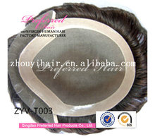 "Wholesale top quality 6"" 1#/2# mixed color 7*9 Mono base with PU 100% Brazilian human hair front lace toupee"