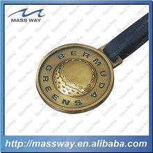 custom 3D round shape old color metal luggage tag