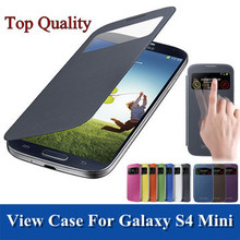 View Window Flip Leather PU Case For Samsung Galaxy S4 Mini S4 mini I9190 Back Cases SIV Mini Battery Housing Cover PY