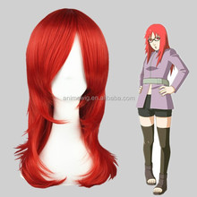 High Quality 55cm Medium Long Curly Fashion Red Synthetic Anime Wig Cosplay Hair Wigs Party Wig