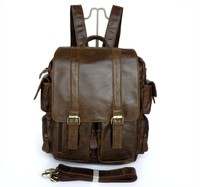 High Quality Hot Sale Drop Shipping Top Grade Genuine Leather Fashion Vintage Leather Backpack #7038B-2