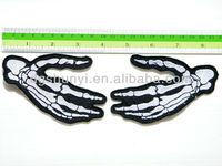 Bone Skeleton Finger Hand Biker Punk Chopper Sew Iron on Patch Embroidered Badge