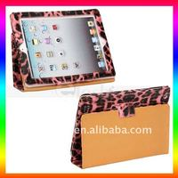 Leopard Stand leather case for ipad 2 , for ipad 2 case