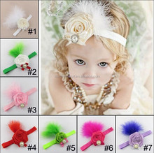 JPHAIR150404 2015 hot sale fashion latest European lovely cute rose feather Baby Girl elastic Headbands with pearl