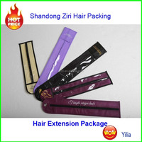 Popular design ziplock pvc hair extension bag with hanger//pvc window hair extension bag