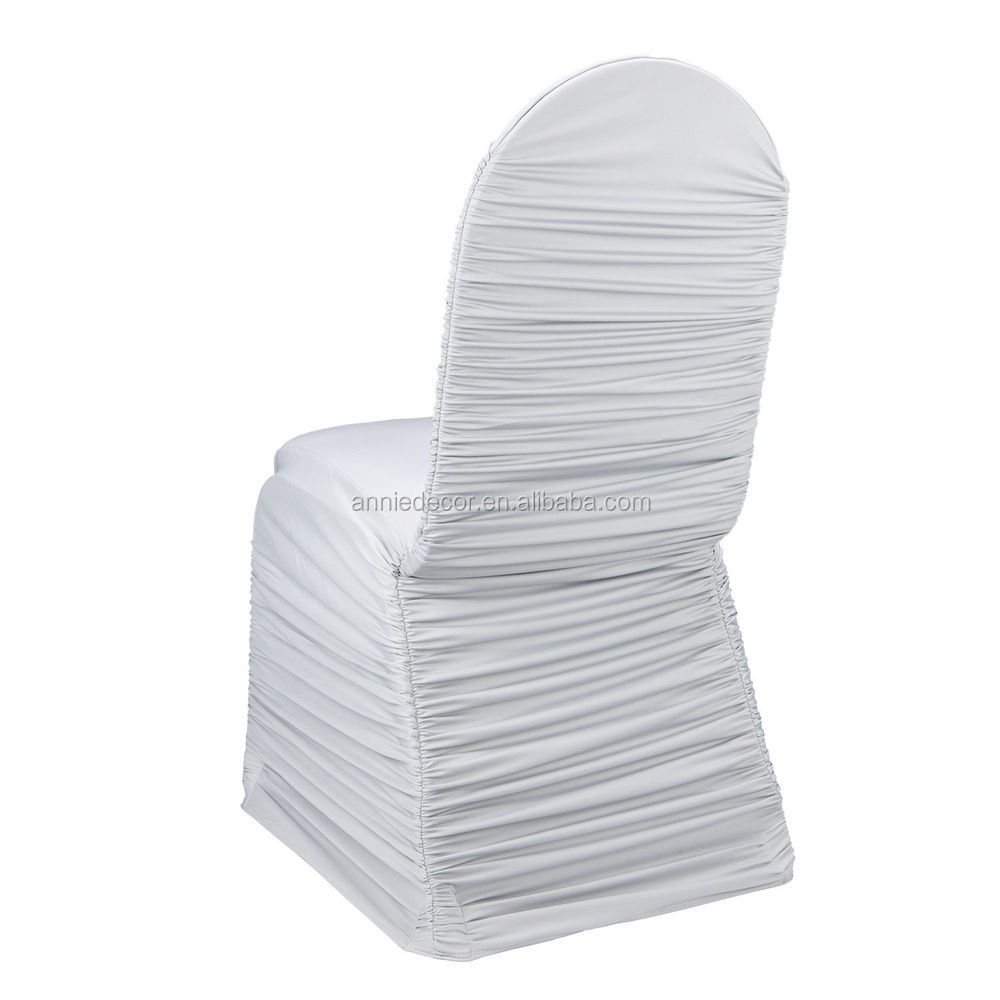 Cheap White Ruched Spandex Chair Cover white Wedding Chair