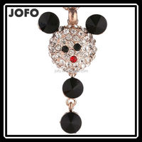 2015 Crystal Cartoon Cute Mouse Black Glasses and Rhinestone Sweater Chain Female Long Necklace With Jewelry Ornaments For Girl