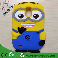 New 3D Cute Cartoon Yellow Despicable Me 2 Minions Silicone cell phone Case Cover For Samsung Galaxy S2