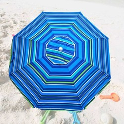 Platinum 6.5 ft Polyester 100 UPF Beach Umbrella with Vent & Tilt