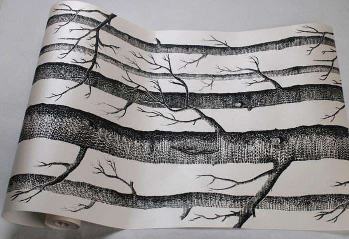 Noir Et Blanc Bouleau Arbre Branches Bois Papier Peint