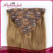 China wholesale price for 100 percent unprocessed malaysian human hair clip in hair extensions