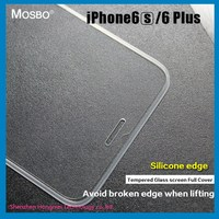 Trade Assurance color silicone edge full cover tempered glass screen protector for iphone 6plus / 6S