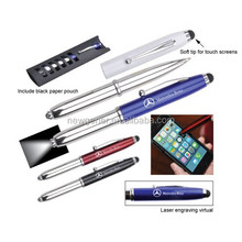 Promotional 3 in1 stylus touch screen ball pen,stylus pen with light