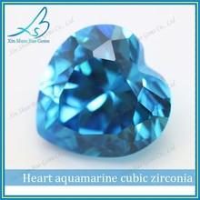 Hot sale cubic zirconia aquamarine heart cut gemstones