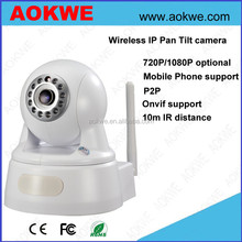 Aokwe 1080p full hd home use night vision indoor pan tilt camera network onvif ip p2p wireless camera support SD card