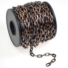 Antiqued Copper Plated Drawn Flattened Cable Chain Spool, Footage, 4.8mm