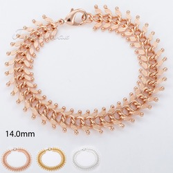 Trendsmax 14MM MENS Womens Chain Hammered Centipede Design Link Gold Filled GF Bracelet Chain