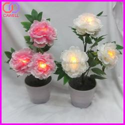wholesale artifiical peony led illuminate flower pot