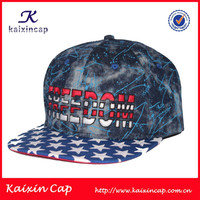 100% Cotton Camo Fabric Caps Hats For Advertising 5/6 Panel Snapback Cap/Hat with 100% Cotton blue Fabric