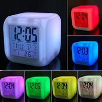 7 LED Colour Square Changing Digital LCD Alarm Clock Thermometer Date Time Night Light