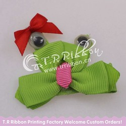 cute frog, small ribbon bow for baby girls, hair grips, about 2inches