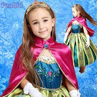 Christmas anna Dress Cosplay Costume Kids Princess ELSA Dresses for 3-10years girls