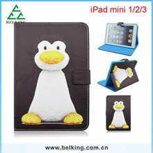 Cute penguin tablet leather case for ipad mini 1/2/3, Animal leather case for ipad mini, for ipad mini tablet case