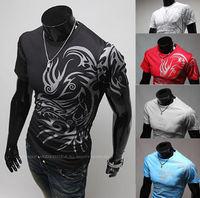 wholesale t shirt 2014 new summer O-neck fashion tattoo patter printing men's short-sleeved slim shirt Q26