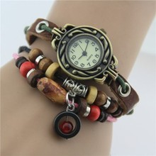 2015 women new fashion vintage watch bracelet woven leather antique watches ladies watches