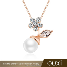 OUXI costume jewelry zircon gold long chain pearl necklace 11314-1