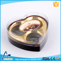 Fancy design heart shaped recyclable plastic chocolate box