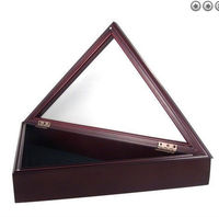 new design high grade triangle shaped American wooden flag box