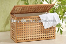 best selling classic grid pattern with cotton bag inside solid wooden folding laundry basket