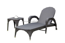 durable outdoor beah bed with side table wicker sun lounger