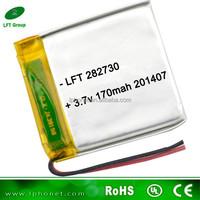 LFT282730 ultra-thin 170mah lipo/li-ion/li polymer batterie 3.7v rechargeable