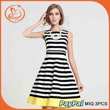 Casual Black White Striped Dress Sleeveless O-Neck Knee-Length Dress Party Evening Elegant Vestidos S-XXL