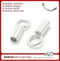 XD P032 Wholesale 925 Sterling Silver 1mm Leather End Caps for Jewelry