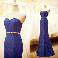 Red Royal blue Vintage lace evening dresses with mermaid shape CYE-078