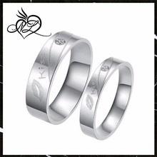 """Fashion Titanium Stainless Steel """"Kiss"""" Lip Promise Ring Couples Wedding Bands"""