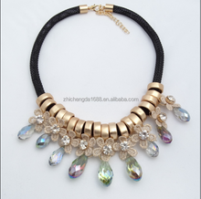 New products flower long chain colorful crystal pendant necklace jewelry made in china
