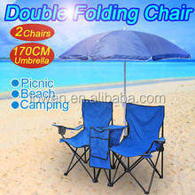 Picnic Double Folding Chair w/ Umbrella Table Cooler Fold Up Beach Camping Chair