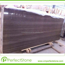 First-Class China Coffee Brown wood vein marble slabs for engineering