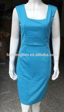Trade assurance kaftan vestidos blue Square Collar Celeb Sexy Slim Bodycon Pencil Dress Cocktail Party for Lades
