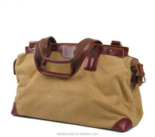 2015 large capacity canvas tote bag / leather travel bags