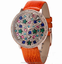 Fashion Luxury Hole Hand Colorful-crystal Dial Custom-color Strap Girl Watches