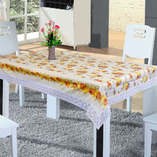 PVC tablecloth with lace border & flannel backing, waterproof & oilproof