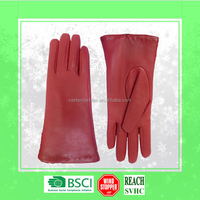 2015 Hot Sale Fashion Ladies 5 Fingers Super Light Goat Split Red Genuine Leather Gloves