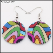 Newei 2015 Fashion Jewelry Girl Women Accessories Circle Earring Acrylic Pattern Drop Dangle Pendientes Boucles d'oreilles